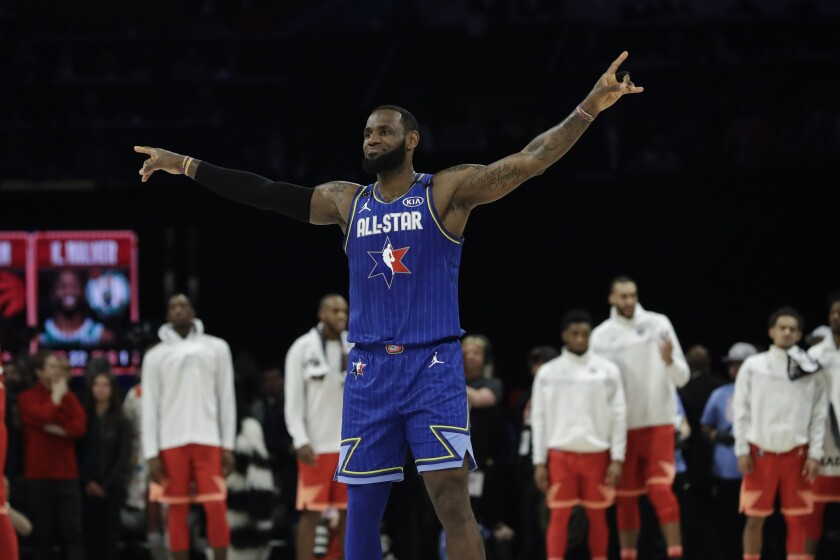 Lakers star LeBron James celebrates during the 2020 All-Star game last year in Chicago.