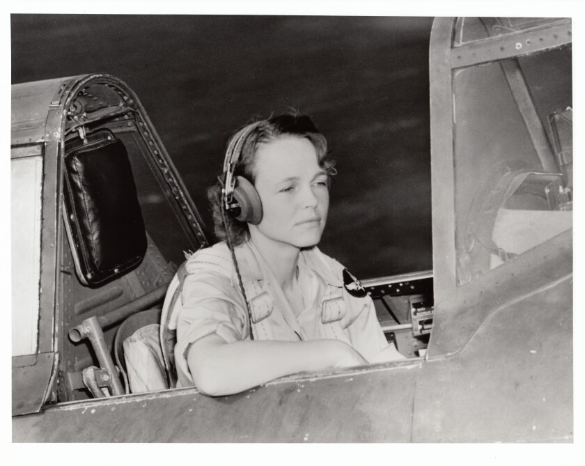 Betty Gillies in the cockpit of a P-47.