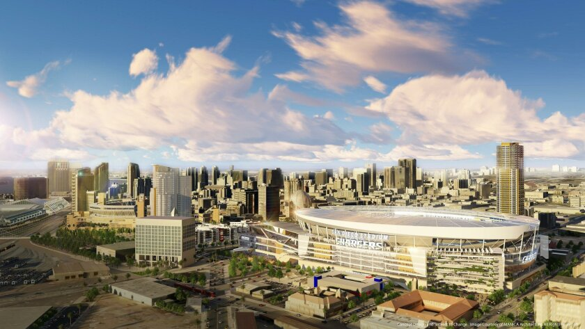 April 21, 2016 -  Mid aerial from southeast view of the proposed Chargers Stadium to be located in downtown San Diego. Mandatory Credit: MANICA Architecture