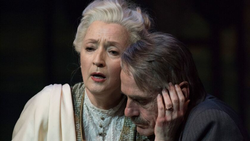 Lesley Manville and Jeremy Irons in Long Day's Journey Into Night. Photo Credit: Hugo Glendinning