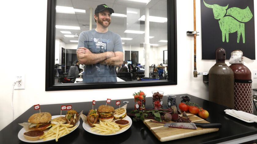 Ethan Brown with Beyond Meat products