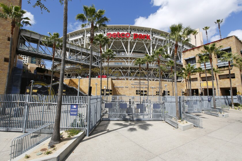 Petco Park on what was supposed to be opening day for the Padres on March 26, 2020. Major League Baseball has postponed games due to the coronavirus pandemic.
