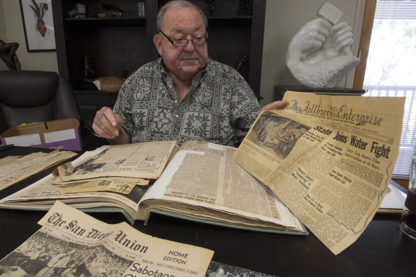 Otis Heald, who was a youngster at the time the Fallbrook case started in 1951, attended many of the meetings held in town with his parents. His mother kept the scrapbook of the happenings, which he is going to donate to the Fallbrook Historical Society.