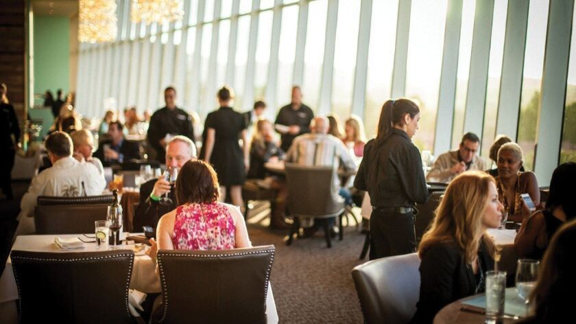 Dine Out Escondido restaurant week. Vintana Wine + Dine - A beautiful dining room with a spectacul