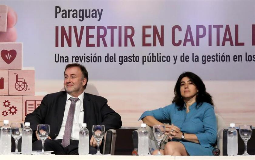 Asuncion, PARAGUAY, Nov. 20, 2018: Minister of finance, Benigno Lopez (L), and World Bank's representative in Paraguay, Celia Ortegala (R), presented Tuesday a report where it was found that Paraguay invests too little in education and the money it does earmark for schooling is badly spent. EPA/EFE/Andrés Cristaldo