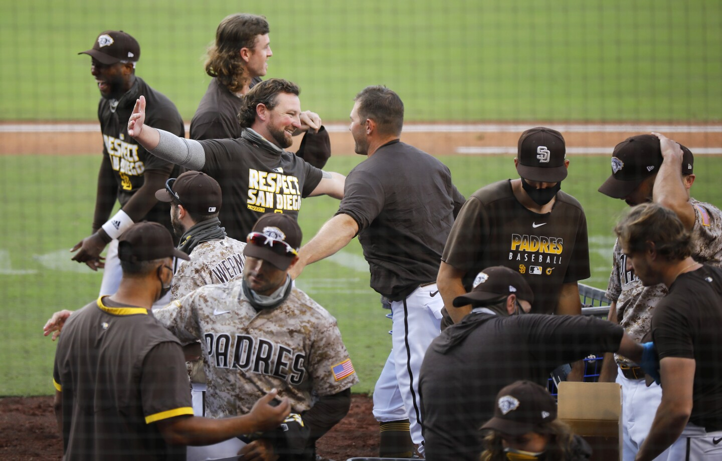 Kirby Yates of the San Diego Padres celebrates a win against the Seattle Mariners at Petco Park.