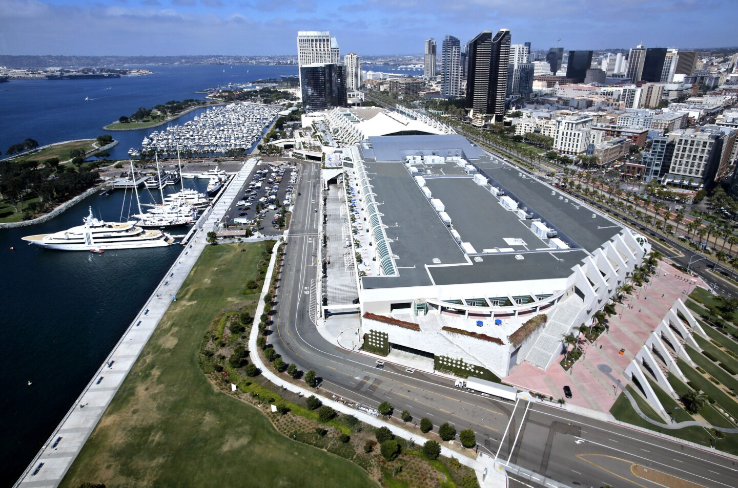 The convention center has housed the annual Comic-Con event for years. But the San Diego Chargers oppose the convention center expansion and favor building an additional convention venue several blocks away.
