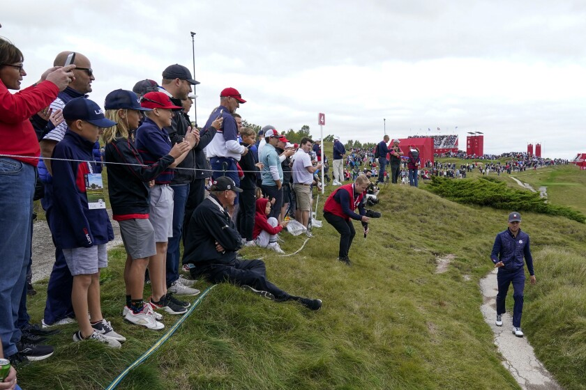 Team USA's Justin Thomas walks on the third hole during a practice day at the Ryder Cup at the Whistling Straits Golf Course Tuesday, Sept. 21, 2021, in Sheboygan, Wis. (AP Photo/Charlie Neibergall)
