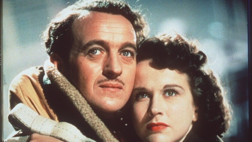 """David Niven and Kim Hunter in """"Stairway to Heaven."""""""