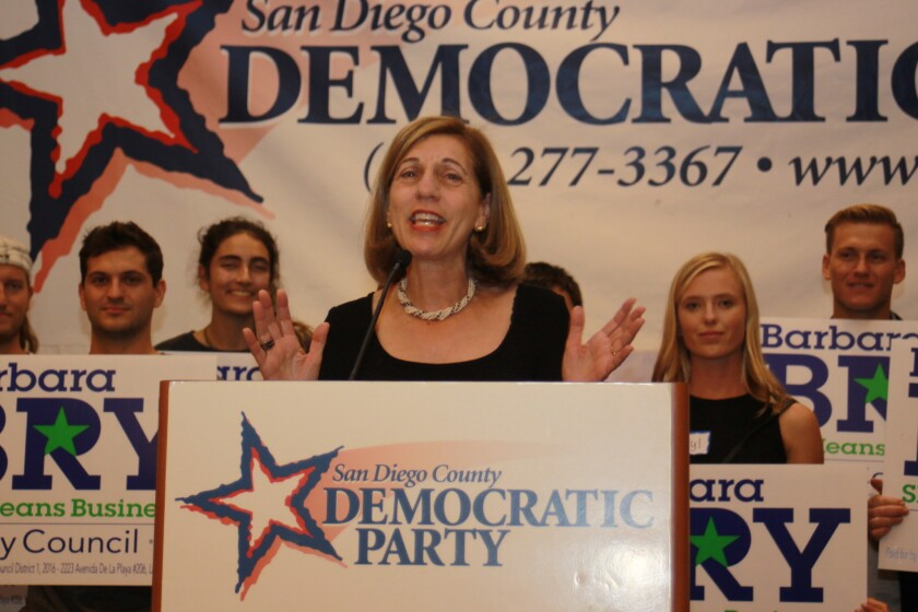 On Election Night, City Councilmember-elect Barbara Bry addresses the San Diego Democratic Party at its headquarters in downtown San Diego.