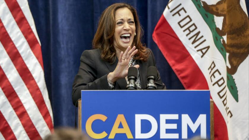 "California Atty. Gen. Kamala Harris called the ""war cry"" video of Rep. Loretta Sanchez, her opponent in the U.S. Senate race, ""shocking."""