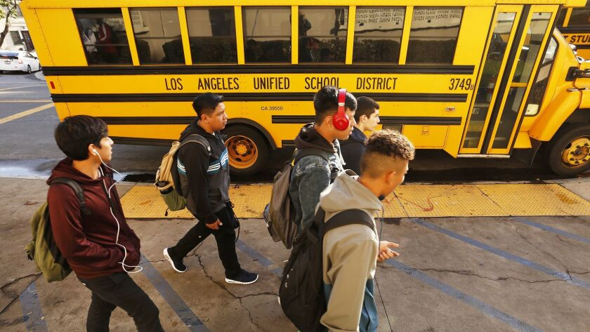 LOS ANGELES, CA - JANUARY 07, 2019 Students depart Belmont High School in Los Angeles Monday aftern