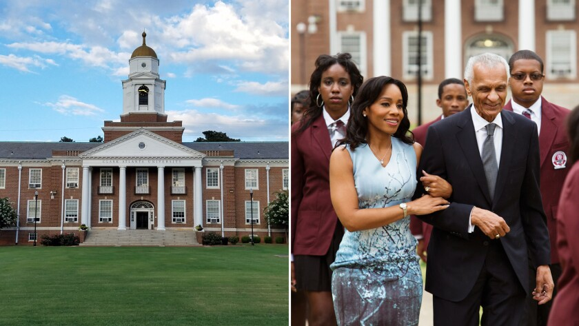 "Clark Atlanta University's Harkness Hall, left, served as the backdrop for a scene from BET's ""The Q"