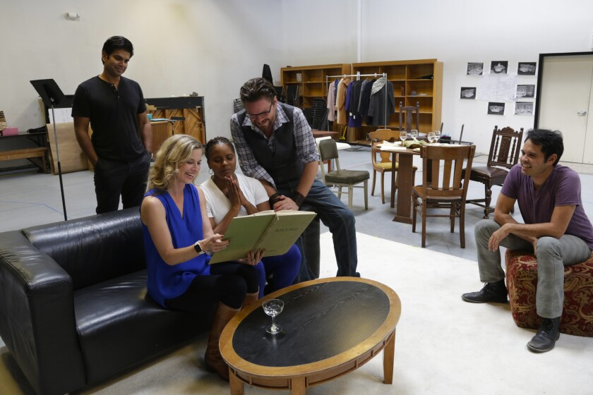 "Ronobir Lahiri, Allison Spratt Pearce, Monique Gaffney, Richard Baird and Keala Milles Jr. (left to right) rehearse a scene from San Diego Rep's ""Disgraced."""