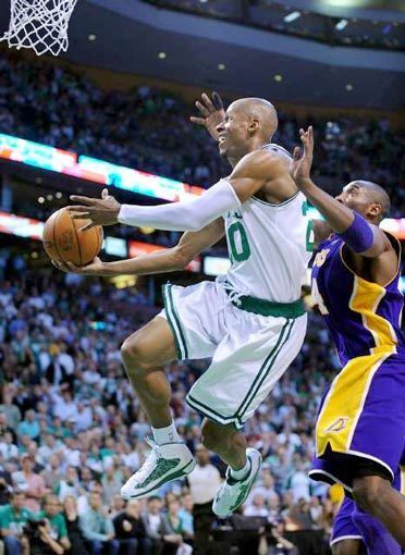 Celtics guard Ray Allen glides in for a reverse layup against Lakers guard Kobe Bryant in the second half of Game 4 on Thursday night.