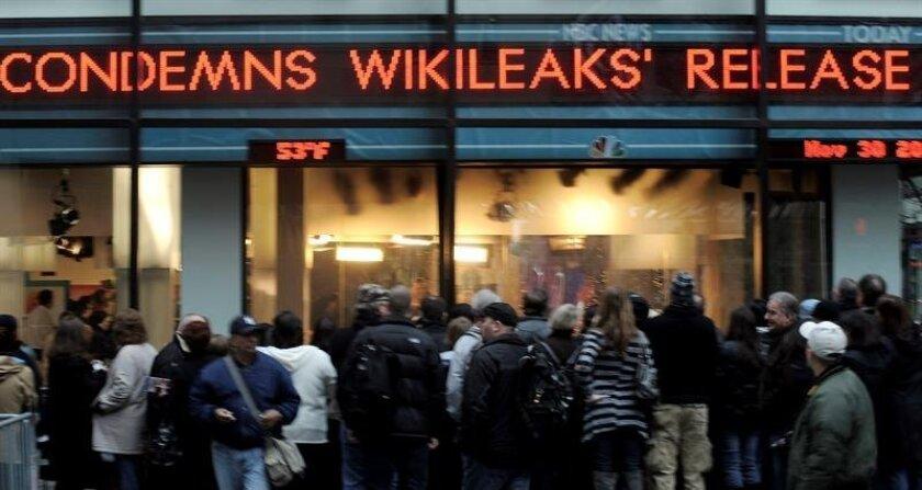 La organización Wikileaks divulgó hoy, durante el tercer día de la Convención Demócrata, una serie de mensajes de voz obtenidos en los correos electrónicos pirateados al partido de la candidata presidencial Hillary Clinton. EFE/ARCHIVO