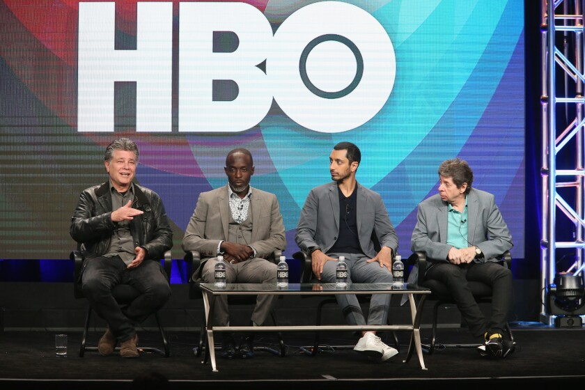 Executive producer-director-writer Steven Zaillian, left, actor Michael Kenneth Williams, Riz Ahmed and executive producer-writer Richard Price speak at 'The Night Of' panel discussion at 2016 Television Critics Assn. Summer Tour in Beverly Hills.