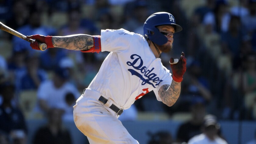 Dodgers rookie Alex Verdugo bats during a game against the Padres on Aug. 4.