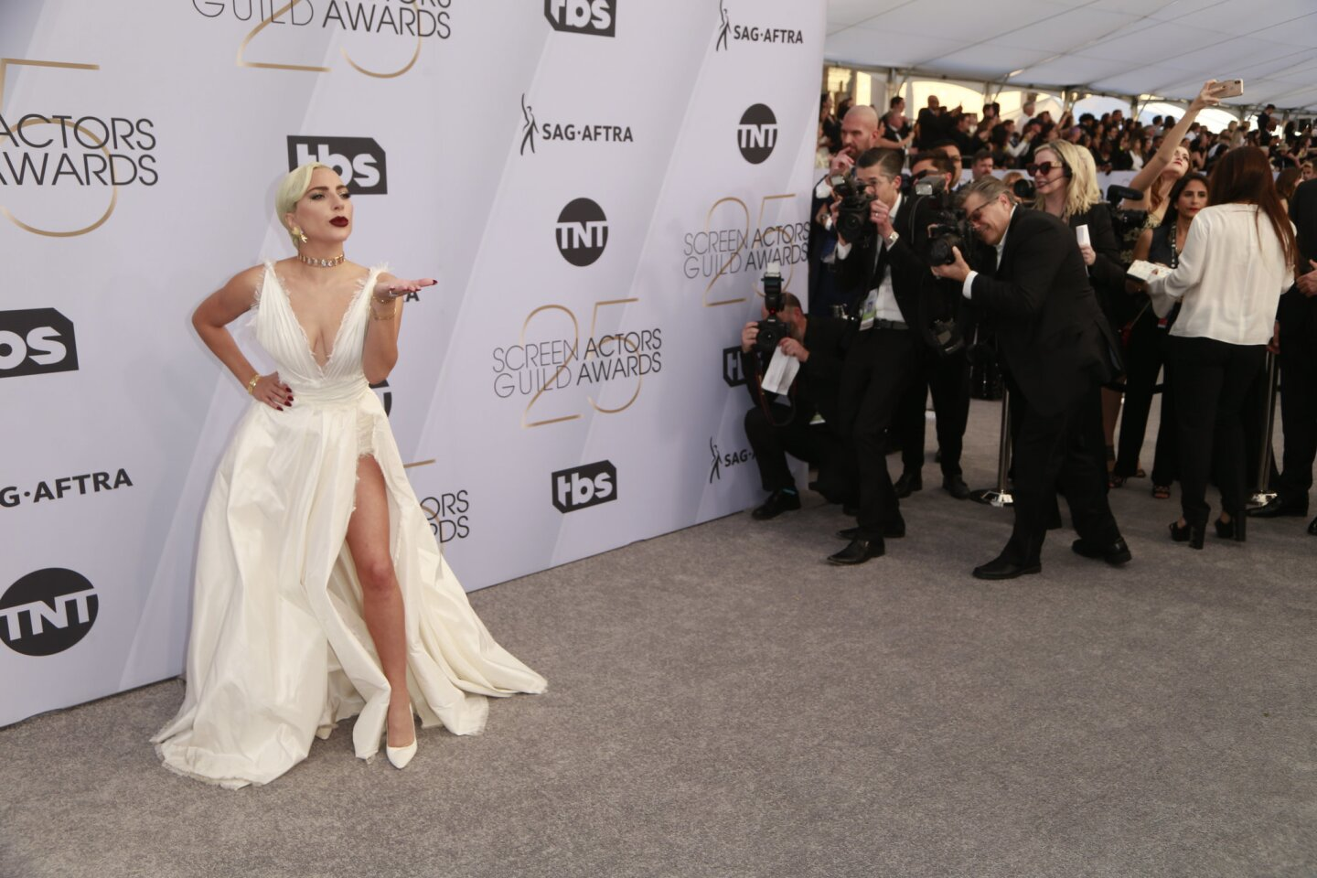 Lady Gaga attends the 25th Screen Actors Guild Awards at the Shrine Auditorium in Los Angeles.