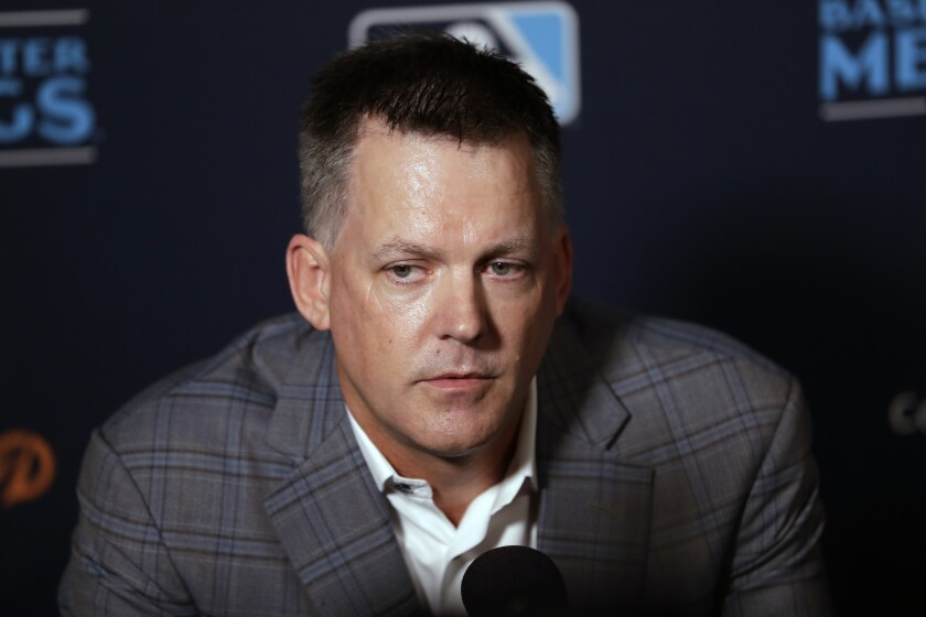 Houston Astros manager A.J. Hinch speaks during the Major League Baseball winter meetings on Tuesday in San Diego.