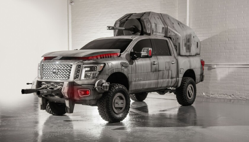Considering the AT-M6 is the largest vehicle in the First Order's arsenal for 'Star Wars: The Last Jedi', Nissan fittingly created its show car replica with a Nissan TITAN. The TITAN is equipped with a massive megacaliber cannon affixed to its back and a custom body wrap reminiscent of the film's massive First Order walker.