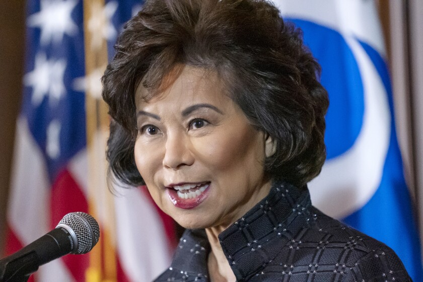 Elaine Chao speaks before a microphone