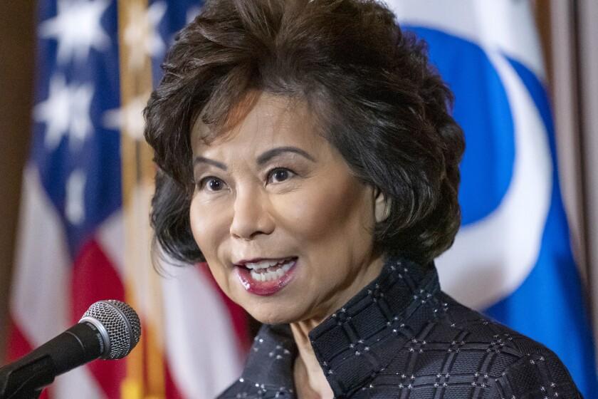 FILE - In this Sept. 18, 2019 file photo Transportation Secretary Elaine Chao speaks at EPA headquarters in Washington. (AP Photo/J. Scott Applewhite)