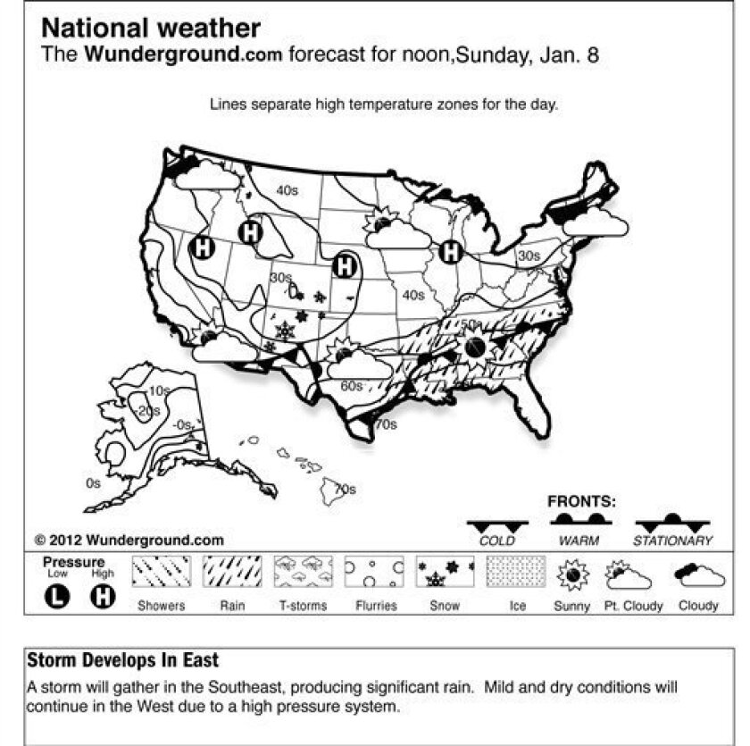 The forecast for noon, Sunday, Jan. 8, 2012 shows a storm will gather in the Southeast, producing significant rain. Mild and dry conditions will continue in the West due to a high pressure system. (AP Photo/Weather Underground)