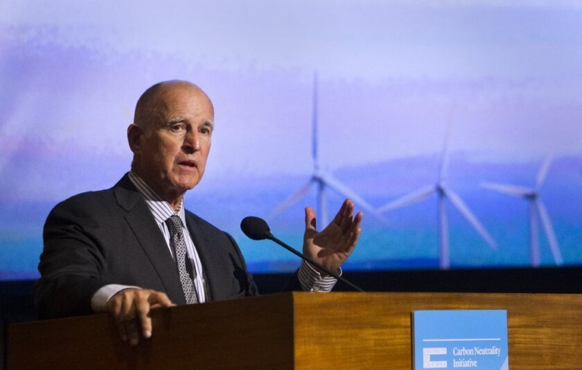 California Governor Jerry Brown addresses the University of California Summit on Carbon and Climate Neutrality last month at the Scripps Institution of Oceanography in La Jolla.