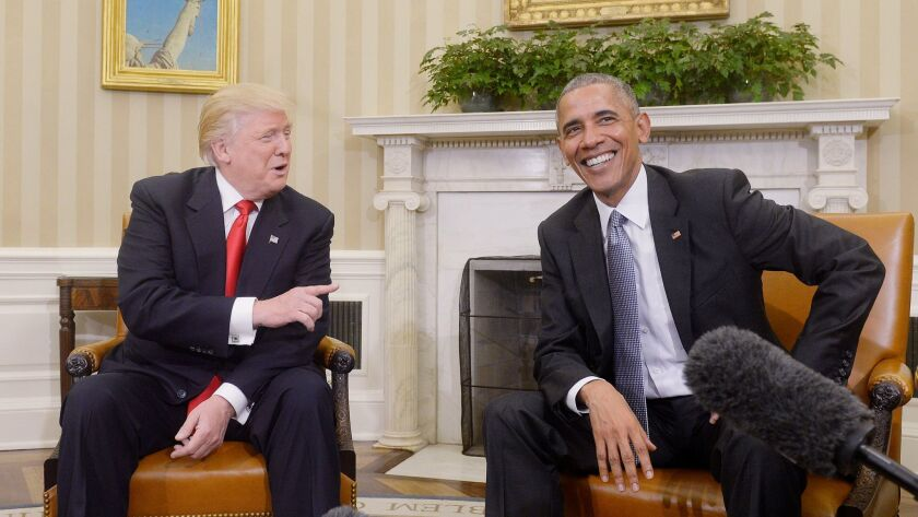 Then-President Barack Obama meets with then-President-elect Donald Trump in Washington in their first public step toward a transition of power on Nov. 10, 2016.