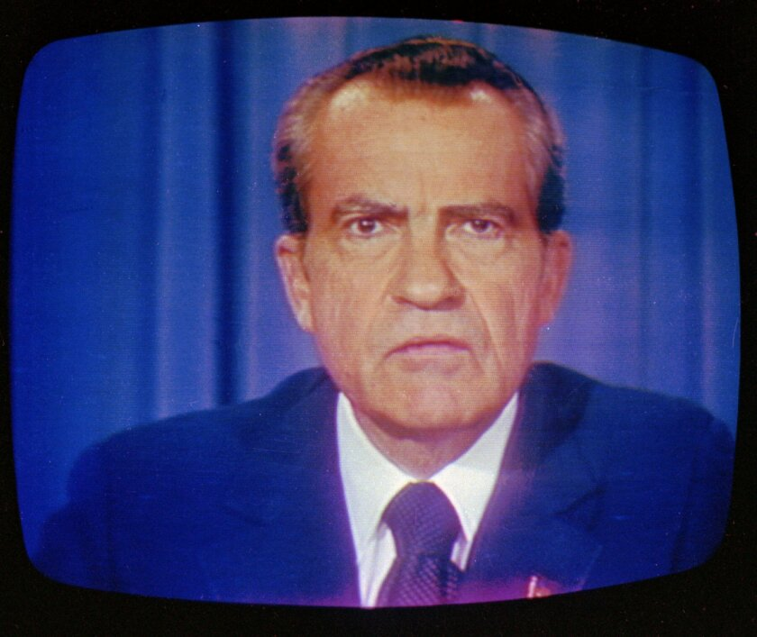 President Nixon announced his resignation in a televised speech on Aug. 8, 1974. Contrary to his claims, he was deeply involved in covering up events surrounding the break-in at Democratic Party headquarters at the Watergate office complex in Washington.
