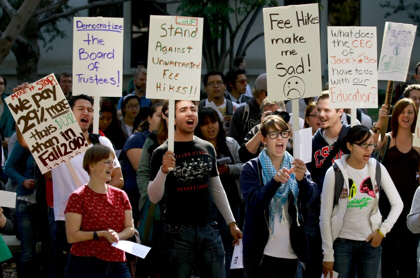 Cal State Fullerton students protest tuition hikes in 2011.