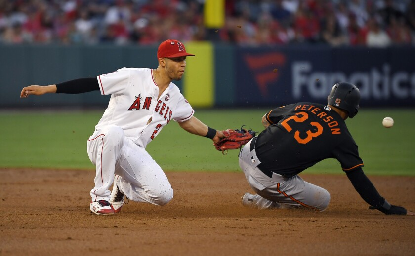 Baltimore Orioles' Jace Peterson, right, steals second as Angels shortstop Andrelton Simmons loses the ball during the second inning on July 26.