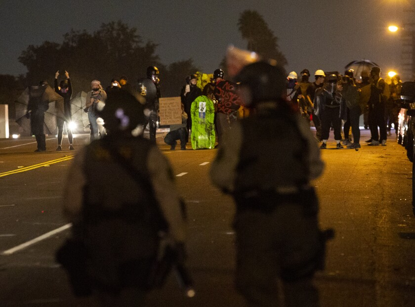 The Los Angeles Sheriff's Department declared an unlawful assembly near the corner of Imperial Hwy and Normandie.