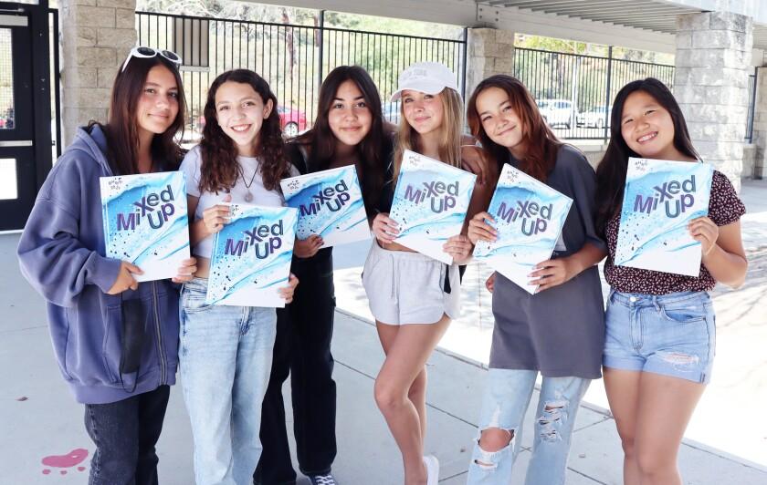 The Bernardo Heights Middle School 2020-21 yearbook staff.
