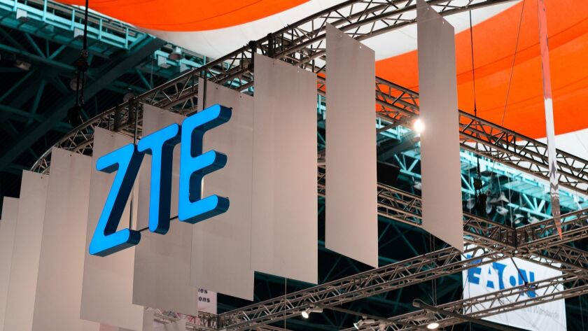 The ZTE logo at a 2017 convention in Minsk, Belarus.