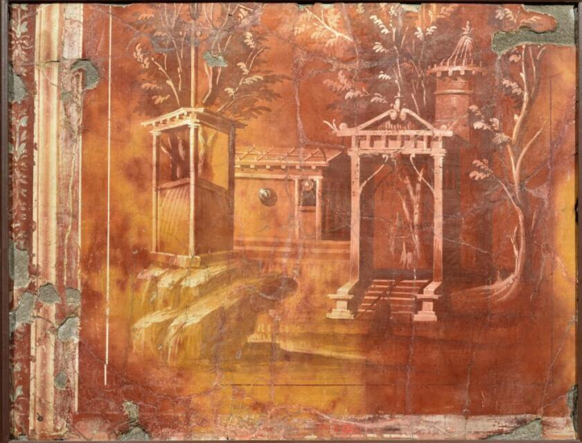 A Roman fresco featuring an architectural landscape, about 40 BC.
