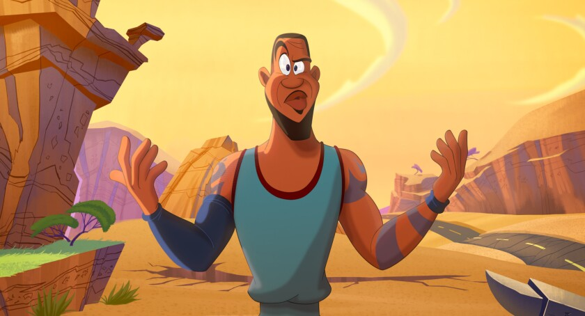 """An animated LeBron James in a scene from """"Space Jam: A New Legacy."""""""