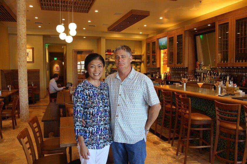 Owners Terumi Shibata-Mazzera and Richard Mazzera at the new César restaurant in Rancho Santa Fe.