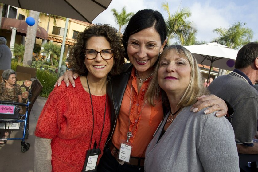 From left, Mary Fawell, director of assisted living, Clara Nicoletti, marketing associate and Sheryl Portnoy, marketing associate admissions coordinator at a retirement party held at the Seacrest Village retirement communities.