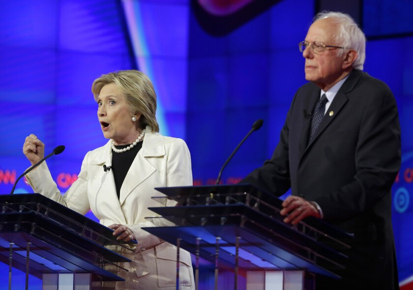 Hillary Clinton and Bernie Sanders debate in New York last week.