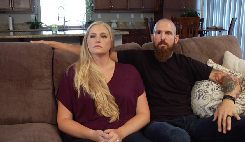 "San Diego Police Officer Heather Seddon, shown with husband Brian Crilly, appears in the documentary ""Keeping the Peace"" and recalled in the film the day she was shot on duty and how counseling help her recover."