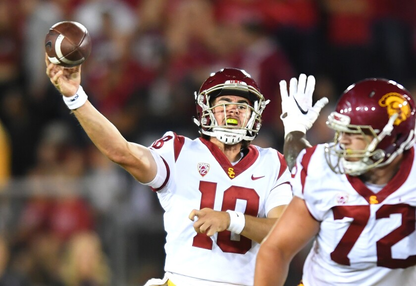 USC quarterback J.T. Daniels gets a pass off against Stanford in the third quarter.