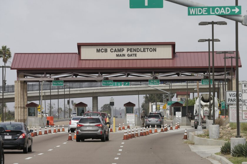 Representative Mike Levin announced Tuesday that more than $185 million of funds for two construction projects at Marine Corps Base Camp Pendleton will be included in the U.S. House of Representatives appropriations bill for the fiscal year 2020. Above, cars enter the base in September 2015.