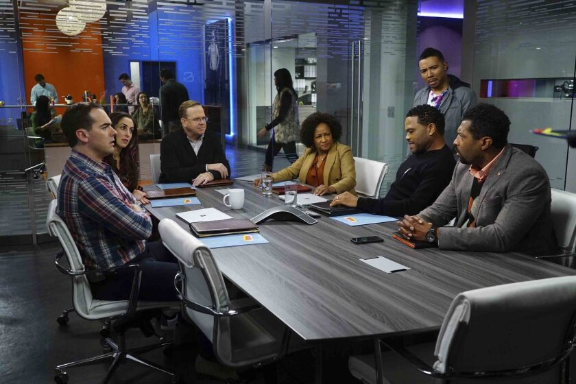 """Jeff Meacham, left, Catherine Reitman, Peter MacKenzie, Wanda Sykes, Allen Maldonado, Anthony Anderson and Deon Cole in a scene from ABC's """"black-ish"""" episode """"Lemons,"""" about the reaction to the presidential election."""