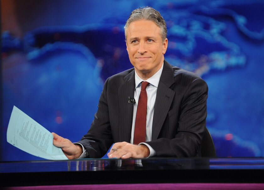 "Jon Stewart, shown here on a 2011 show, began his final week on ""The Daily Show"" with a vigorous counterattack on Fox News."