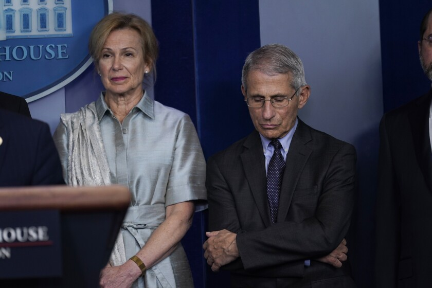 Dr. Deborah Birx and Dr. Anthony Fauci attend a coronavirus task force briefing at the White House in March.