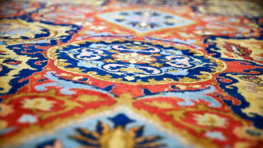 LOS ANGELES, CA-JUNE 25, 2019: An Indo Kerman Carpet from the collection of Peter Falk is photograph