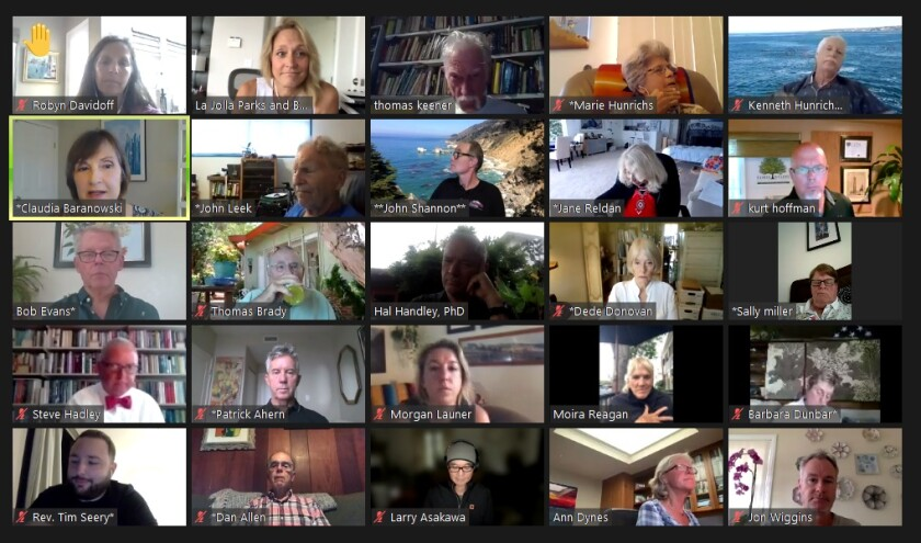 The La Jolla Parks & Beaches group meets July 26 via Zoom. A vote on seating Jon Wiggins (bottom right) was postponed.