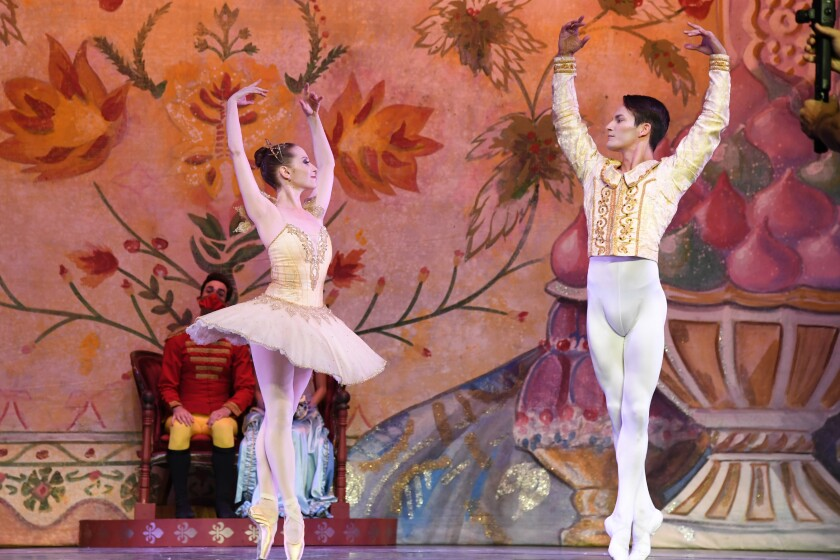 "Ariana Gonzalez and Iago Breschi in City Ballet's ""The Nutcracker."""